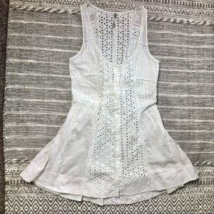 Free People White Eyelet Lace Lace Up Corset Boho Cottagecore Mini Dress